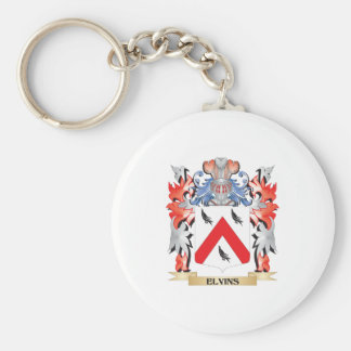 Elvins Coat of Arms - Family Crest Basic Round Button Key Ring