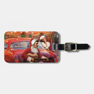Elvis and Marilyn Christmas Luggage Tag