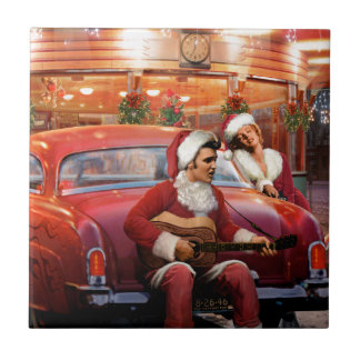 Elvis and Marilyn Christmas Small Square Tile