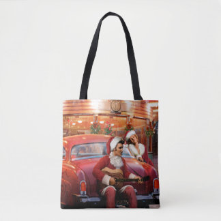Elvis and Marilyn Christmas Tote Bag