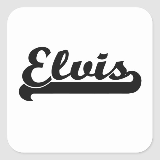 Elvis Classic Retro Name Design Square Sticker