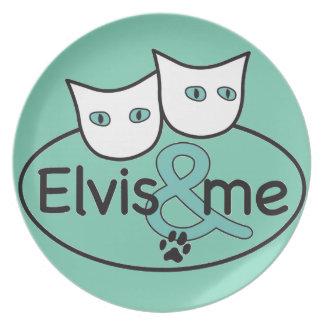 'Elvis & me' Aqua Melamine Plate