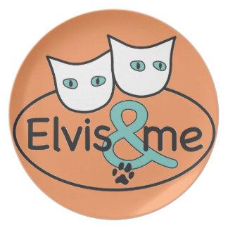 'Elvis & me' Orange Melamine Plate
