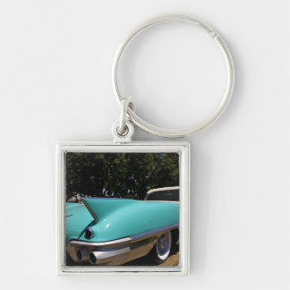 Elvis Presley's Green Cadillac Convertible in Silver-Colored Square Key Ring