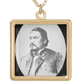 Ely Samuel Parker (1828-95) Seneca Chief and Feder Gold Plated Necklace