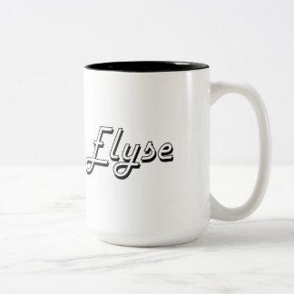 Elyse Classic Retro Name Design Two-Tone Mug