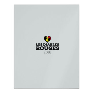 EM 2016 Les Diables Rouges Belgium 11 Cm X 14 Cm Invitation Card