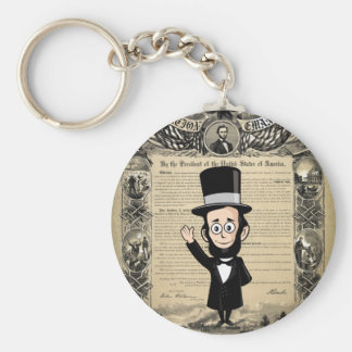 Emancipation Proclamation and Honest Abe Lincoln Basic Round Button Key Ring