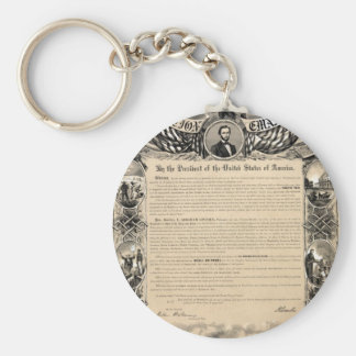 Emancipation Proclamation Print Basic Round Button Key Ring