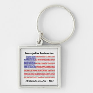 Emancipation Proclamation Silver-Colored Square Key Ring