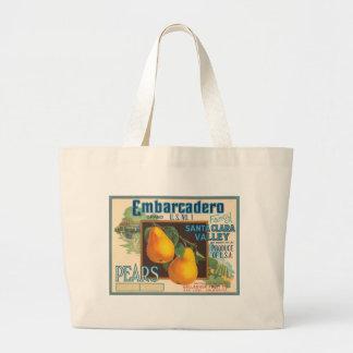 Embarcadero Pears Crate Label Jumbo Tote Bag