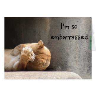 Embarrassed lioness greeting card