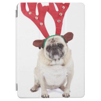 Embarrassed looking Pug wearing Reindeer Antlers iPad Air Cover