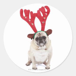 Embarrassed looking Pug wearing Reindeer Antlers Round Sticker