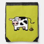 Embarrassed Pooping Cow Drawstring Bag