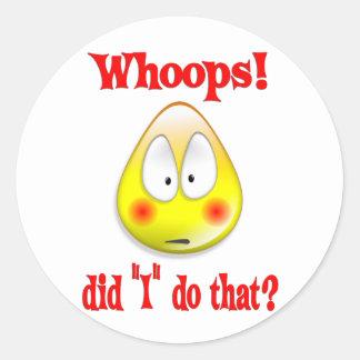 Embarrassed Whoops Round Sticker