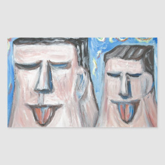 Embarrassing Father and Son ( expressionism) Rectangular Sticker