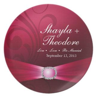 Embellished Diamante Wedding   hot pink Plate