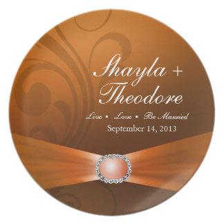 Embellished Diamante Wedding Keepsake | amber Party Plates