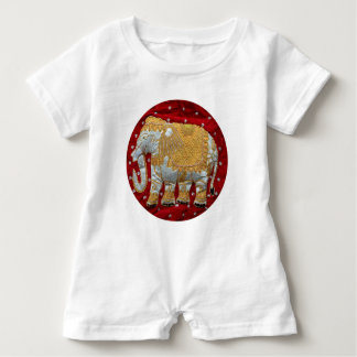 Embellished Indian Elephant Red and Gold Baby Bodysuit