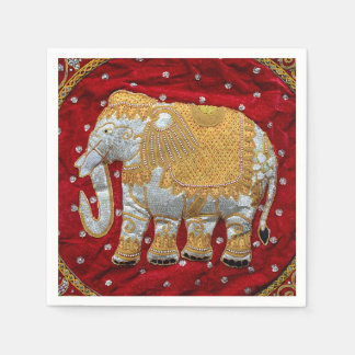 Embellished Indian Elephant Red and Gold Disposable Serviettes