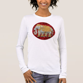 Embellished Indian Elephant Red and Gold Long Sleeve T-Shirt