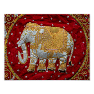 Embellished Indian Elephant Red and Gold Poster