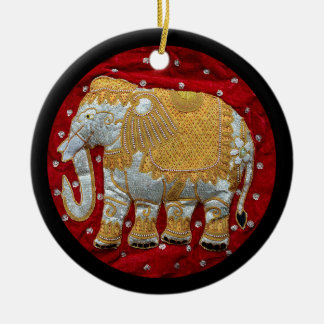 Embellished Indian Elephant Red and Gold Round Ceramic Decoration