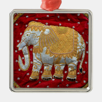 Embellished Indian Elephant Red and Gold Silver-Colored Square Decoration
