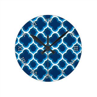 Embellished Moroccan Trellis (Blue) (Monogram) Clocks