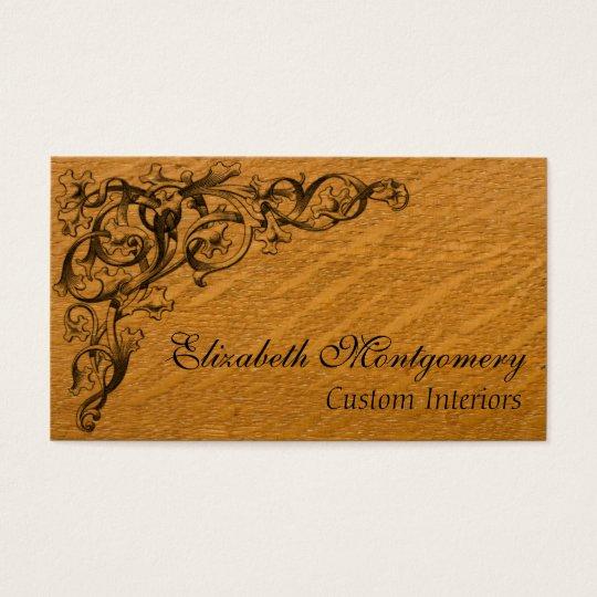 Embellished Wood Professional Business Card