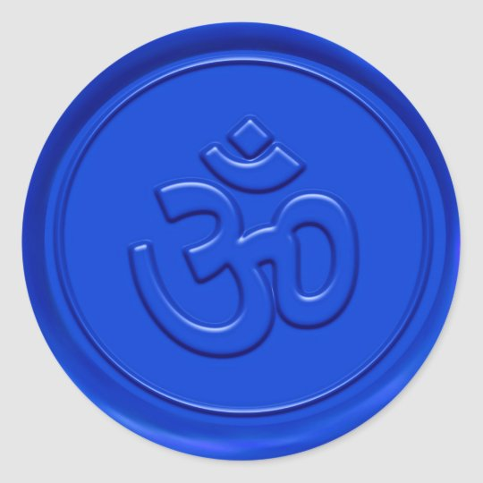 Embossed Blue Om Sign Classic Round Sticker