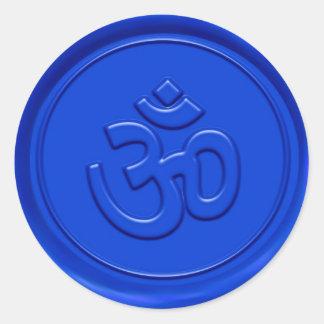Embossed Blue Om Sign Round Sticker