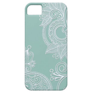 Embossed Boho Teal Paisley iPhone 5 Covers