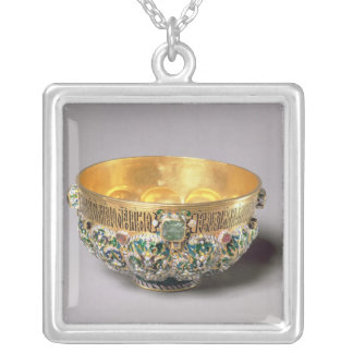 Embossed bowl set silver plated necklace