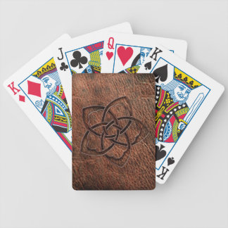 Embossed celtic knot flower on geniune leather bicycle playing cards