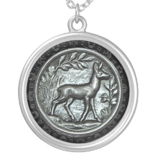 Embossed Doe Silver Plated Necklace
