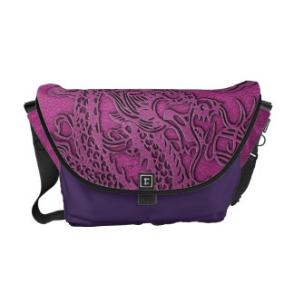 Embossed Dragon On Pink Leather Texture Commuter Bags