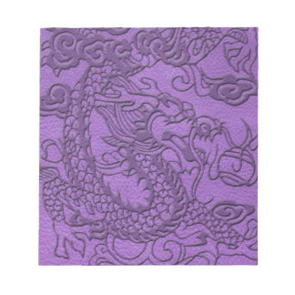 Embossed Dragon on Purple Leather print Notepad