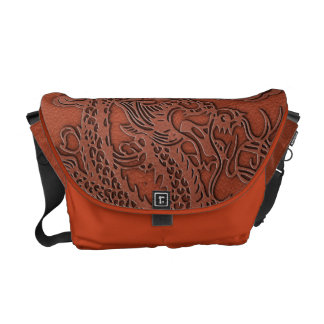 Embossed Dragon On Red Earth Leather Texture Commuter Bag