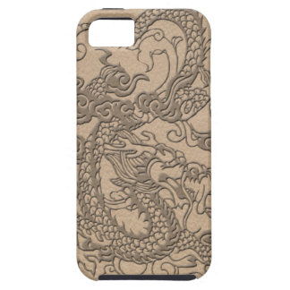 Embossed Dragon on Shell Color Leather Texture iPhone 5 Cover