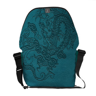 Embossed Dragon On Teal Leather print Courier Bags