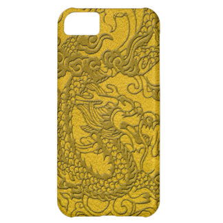 Embossed Dragon On yellow leather print iPhone 5C Case