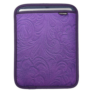 Embossed Floral Design On Purple Leather Pattern Sleeves For iPads