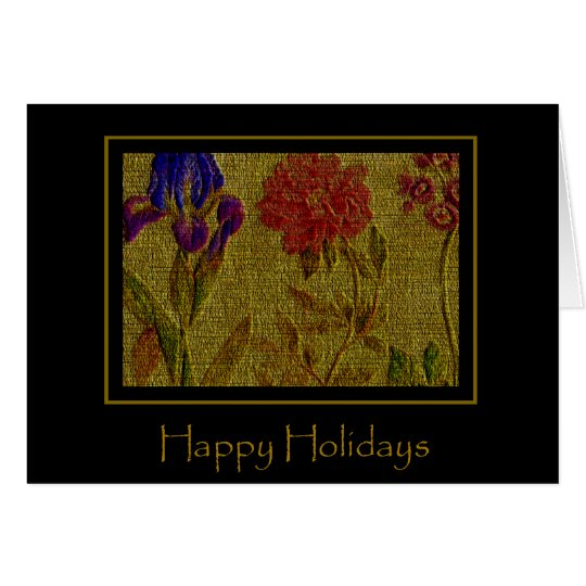 Embossed Flowers Holiday Card