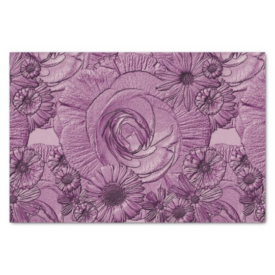 Embossed Flowers-Lt Purple-Tissue Wrapping Tissue Paper