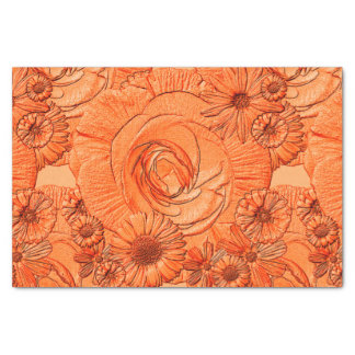 Embossed Flowers-Orange-Tissue Wrapping Tissue Paper