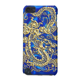 Embossed Gold Dragon Blue Satin iPod Case iPod Touch 5G Covers