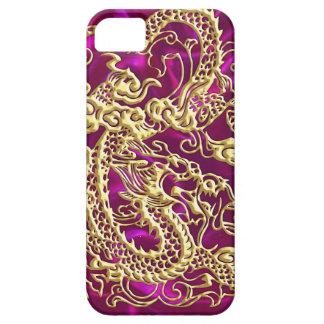 Embossed Gold Dragon Magenta Satin iPhone Case iPhone 5 Case