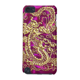 Embossed Gold Dragon Magenta Satin iPod Case iPod Touch 5G Cover